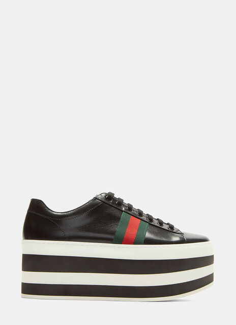 Striped Platform Leather Sneakers