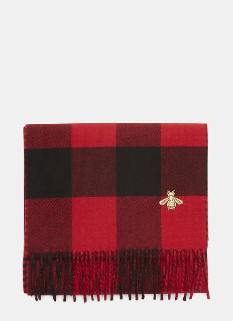 Gucci Checked Bee Scarf