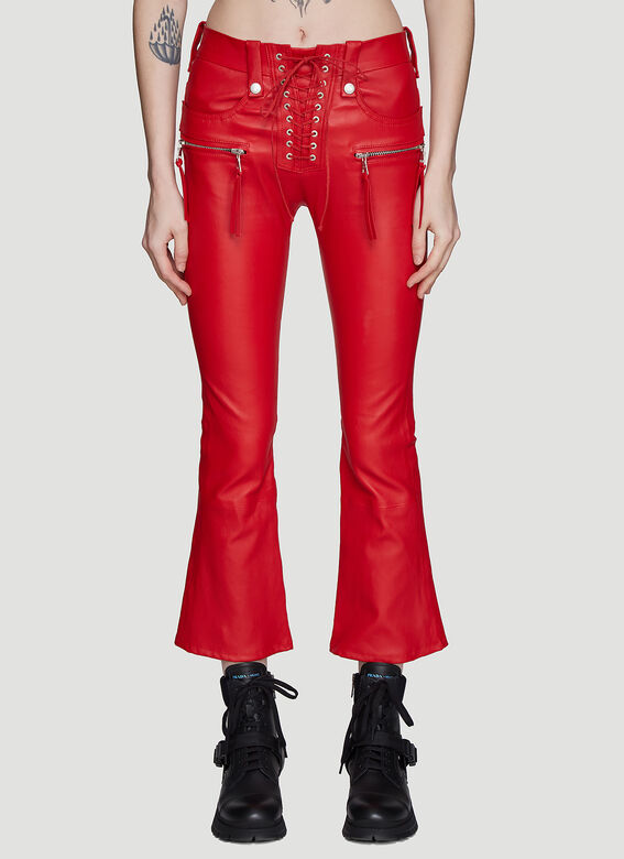 Ben Taverniti Unravel Project Pants Lace-up Flared Leather Pants in Red