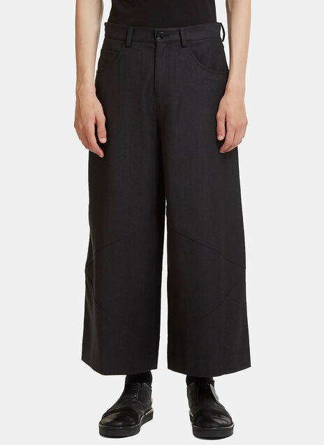 Asymmetric Stitched Wide Leg Cropped Pants