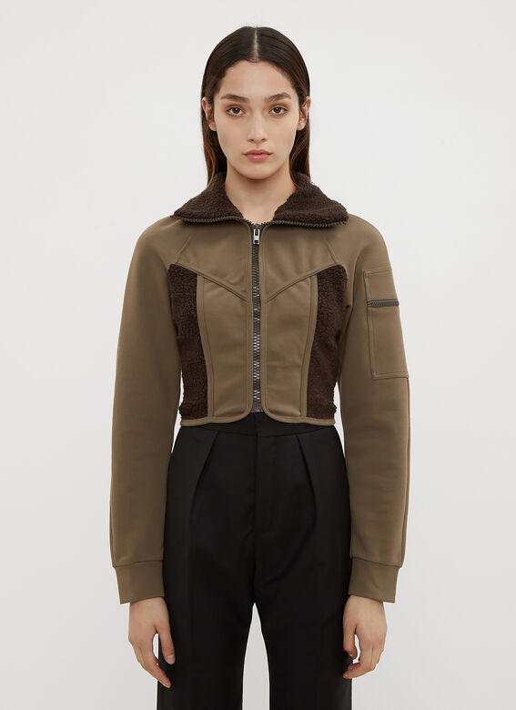 Atlein Jackets Cropped Jersey Wetsuit Jacket in Brown