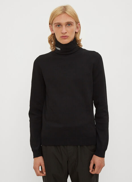 Valentino Logo Intarsia Turtleneck Knit Top