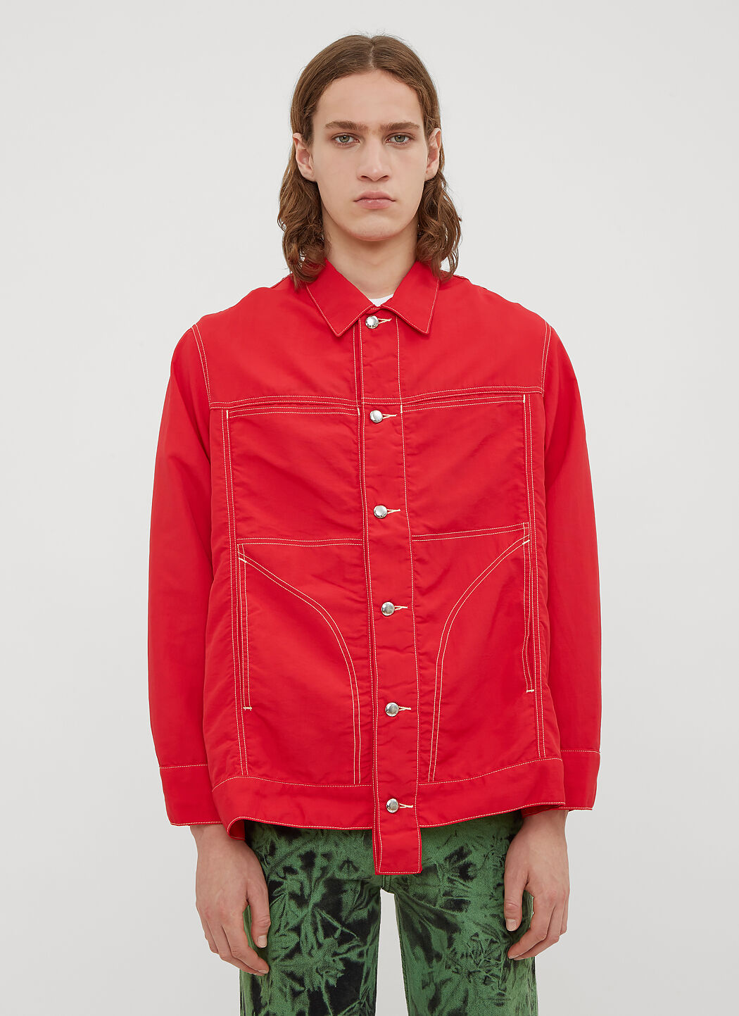 LN Latta Eckhaus CC Nylon in Jacket Shirt Red Denim 0qB0SrWcd
