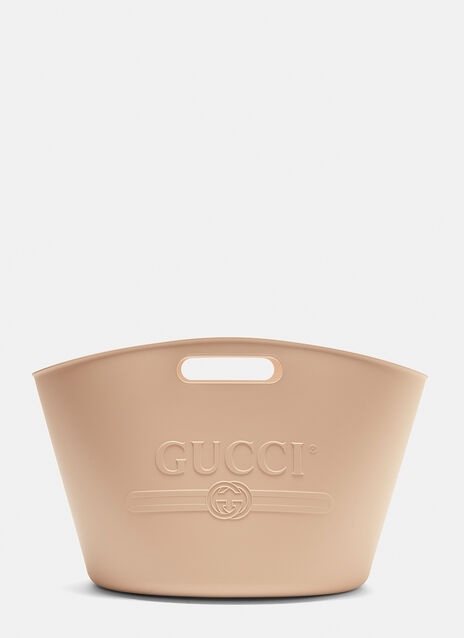 Gucci Logo Embossed Top Handle Rubber Tote Bag
