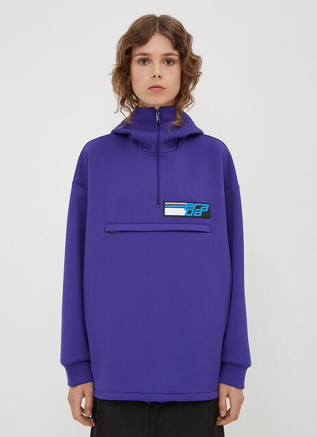 Prada Hooded Logo Patch Half-Zip Top