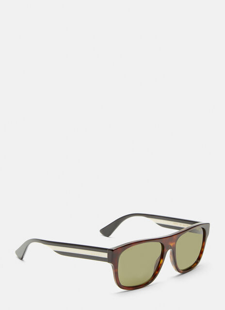 Gucci Square Frame Striped Arm Sunglasses