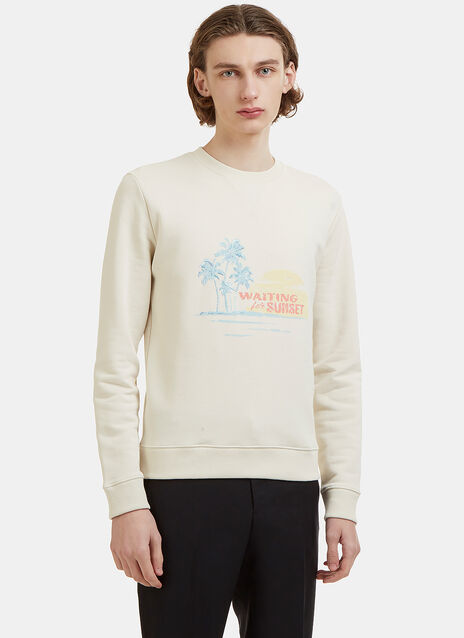 Saint Laurent Waiting for the Sunset Embroidered Crew Neck Jersey Sweater
