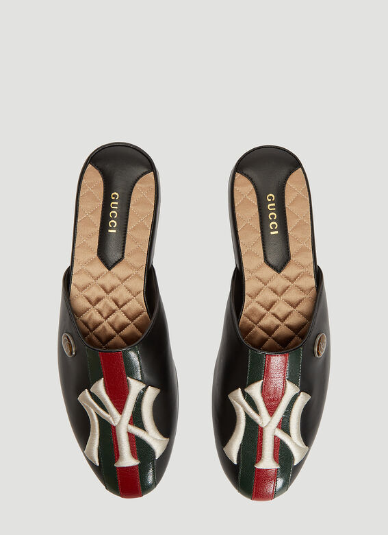 Gucci NY Yankees Patch Leather Slippers