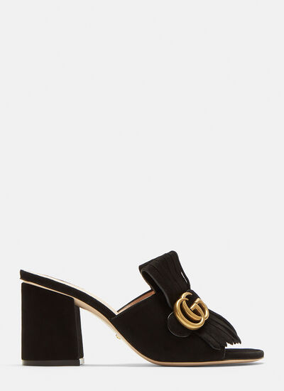 Gucci GG Mid-heel Fringed Marmont Mules