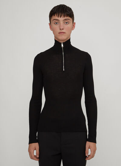 Prada Slim Ribbed Half-Zip Roll Neck Sweater