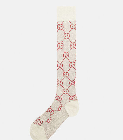 Metallic Interlocking G Motif Calf Socks