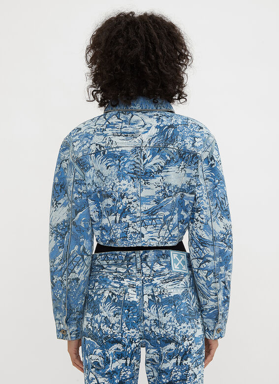 Off-White Cropped Tapestry Print Denim Jacket