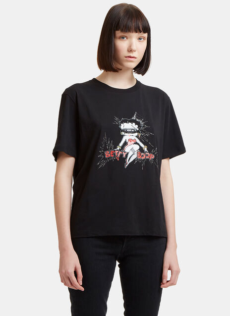 Saint Laurent Betty Boop Embroidered T-Shirt