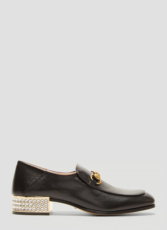 b50744d58 Gucci Horsebit Crystal Leather Loafers in Black | LN-CC