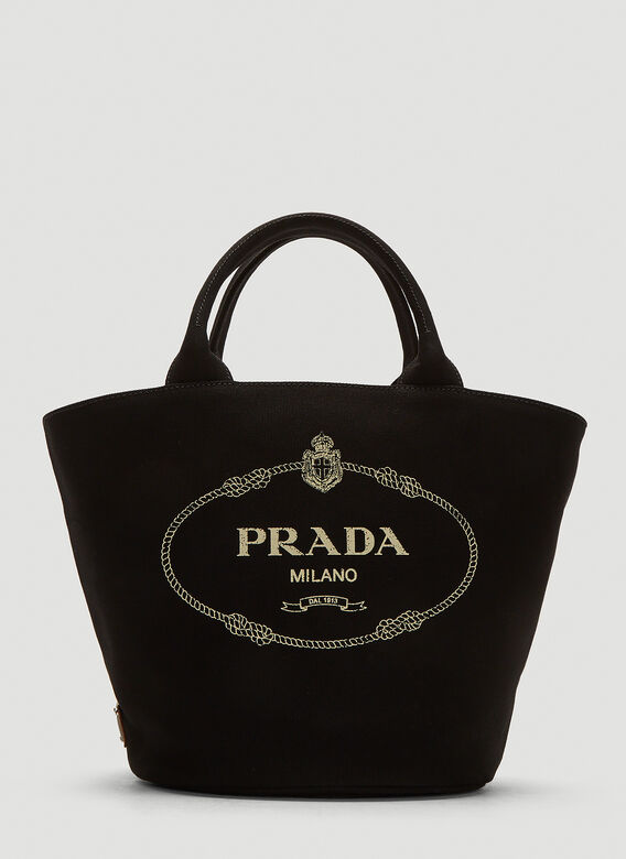 cf4440b8f5c9 Prada Fabric Logo Tote Bag in Black | LN-CC
