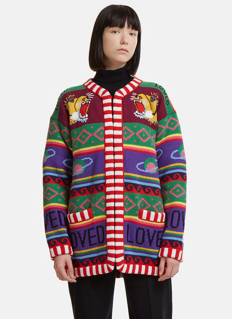 Gucci Striped Tiger Intarsia Knit Cardigan