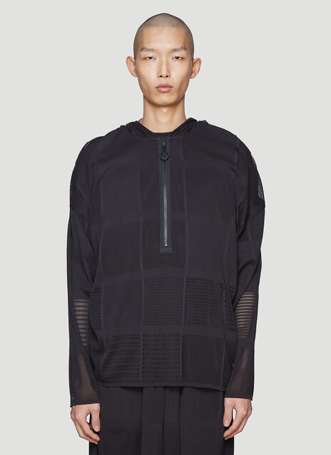 Y-3 Hooded Patchwork Mesh Sweater