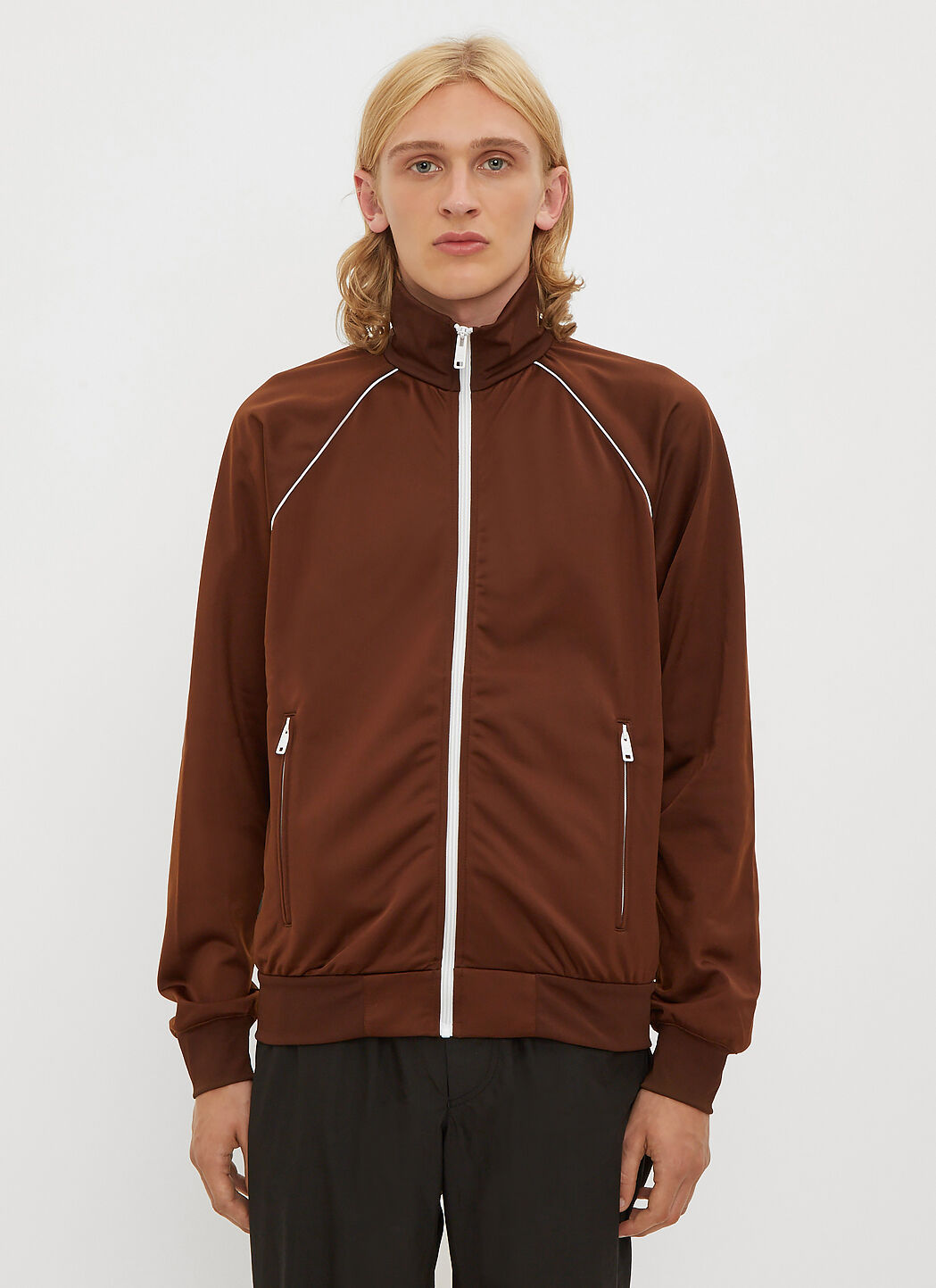 Online For Sale Bi-Material Track Top Prada 100% Authentic Cheap Price Eae03Zc