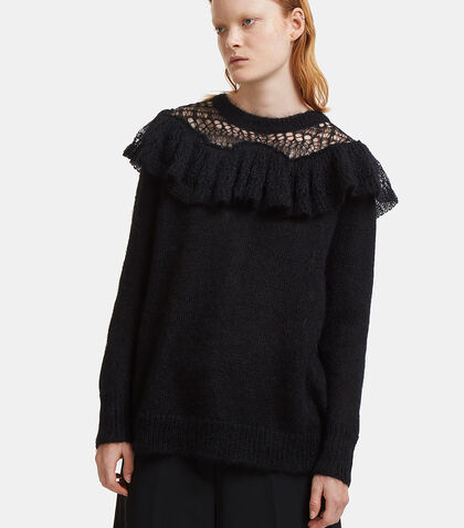 Frilled Mohair Knit Sweater