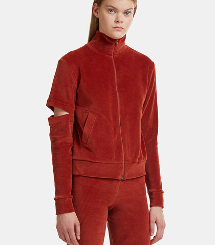 Velour Cut-Out Zip-Up Hooded Jacket