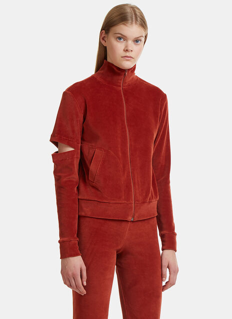 Elliss Velour Cut-Out Zip-Up Hooded Jacket