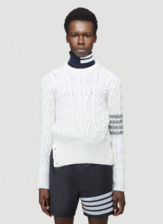 Thom Browne CLASSIC ARAN CABLE CREW NECK PULLOVER W/ 4 BAR SLEEVE IN FINE MERINO WOOL 1