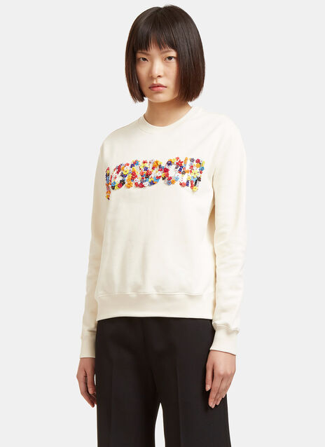 Floral Beaded London Crew Neck Sweater