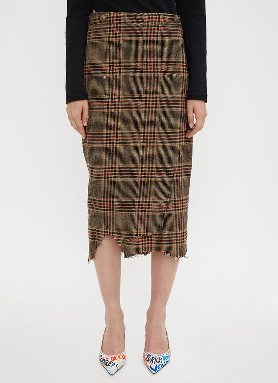 c64a12387f4d4d Vetements Wrapped Checked Pencil Skirt in Brown | LN-CC