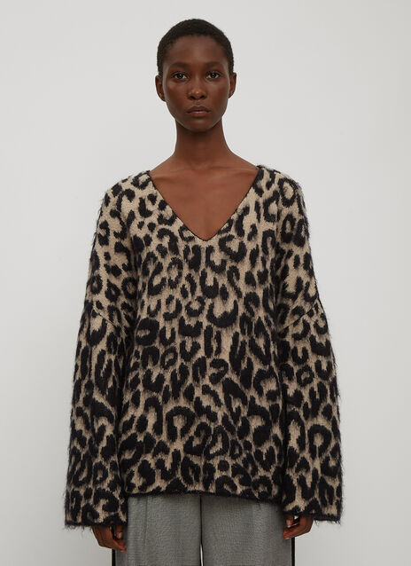 Stella McCartney V-Neck Leopard Print Sweater