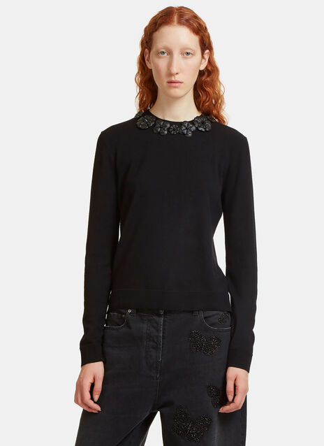 Leather Flower Appliqué Knit Sweater