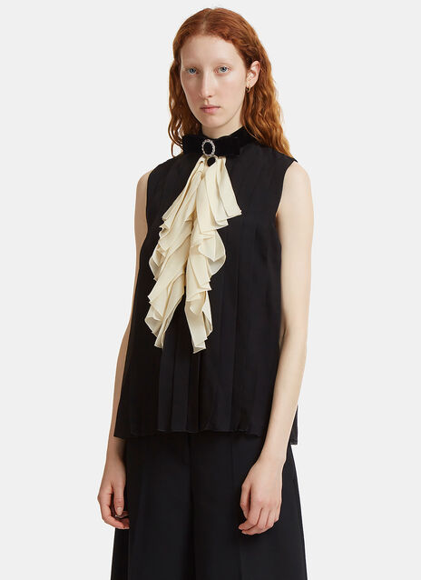 Gucci Crystal Embellished Velvet Bow Ruffle Top