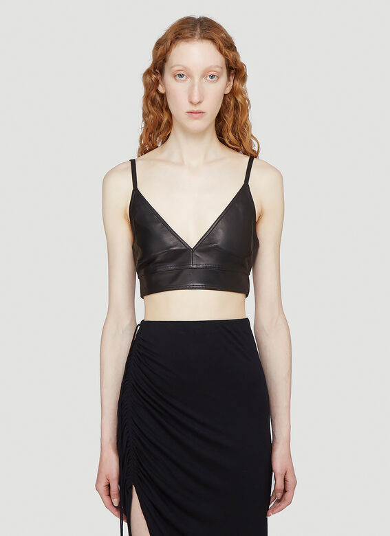 HELMUT LANG Leather Cropped Top in Black