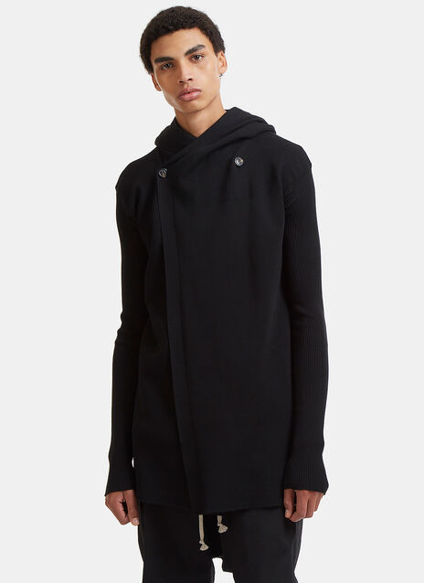 Rick Owens Double-Breasted Hooded Knit Sweater