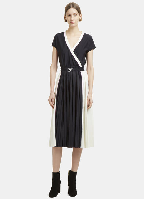 Valentino Short Sleeve V-Neck Pleated Dress
