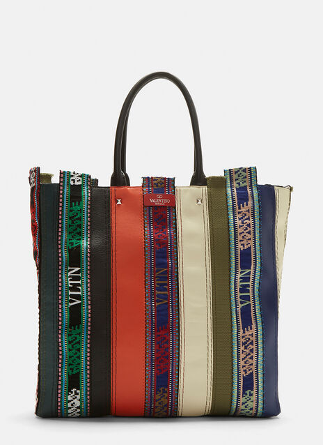 Valentino Embroidered Patchwork Tote Bag