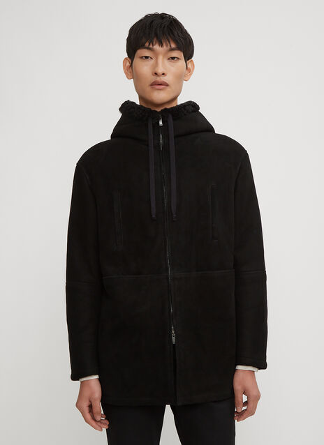 Saint Laurent Hooded Shearling Zip Parka