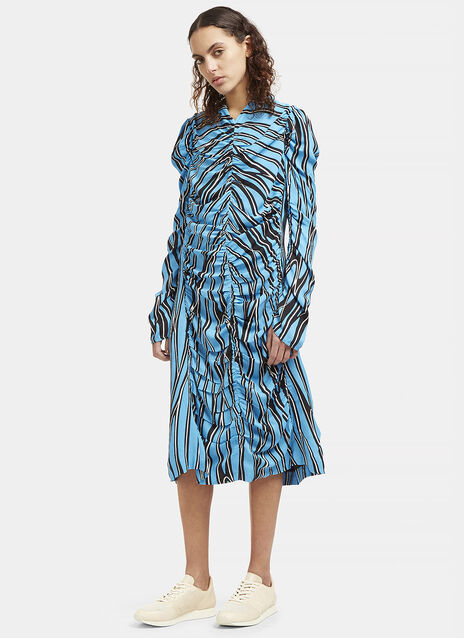 Mid-Length Ruched Stripe Dress