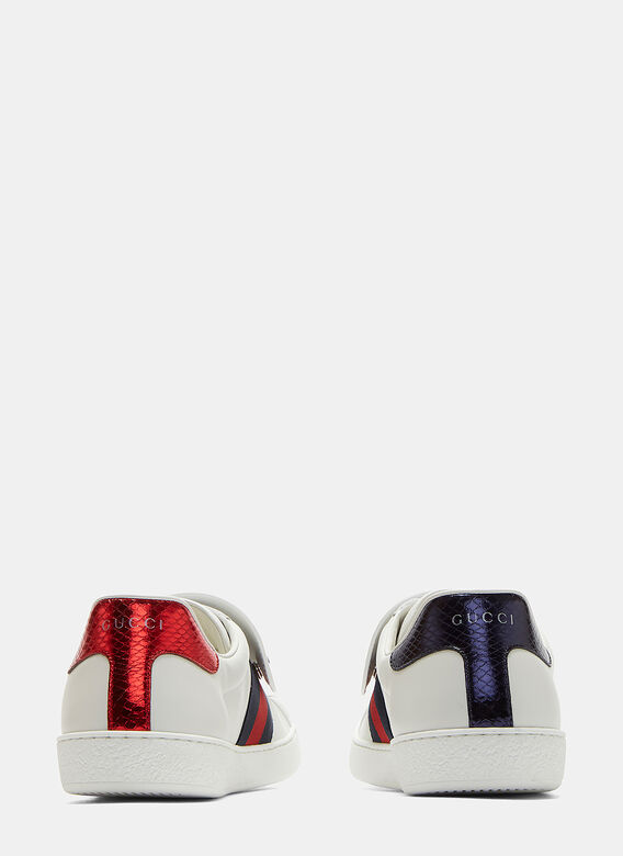 28795cdb1 Gucci Ace Removable Embroidered Tiger Patch Sneakers