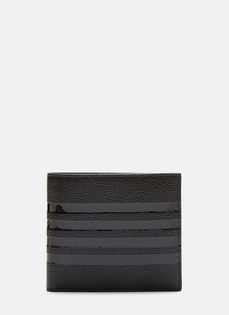 Large Pebble Grained Bar Striped Wallet