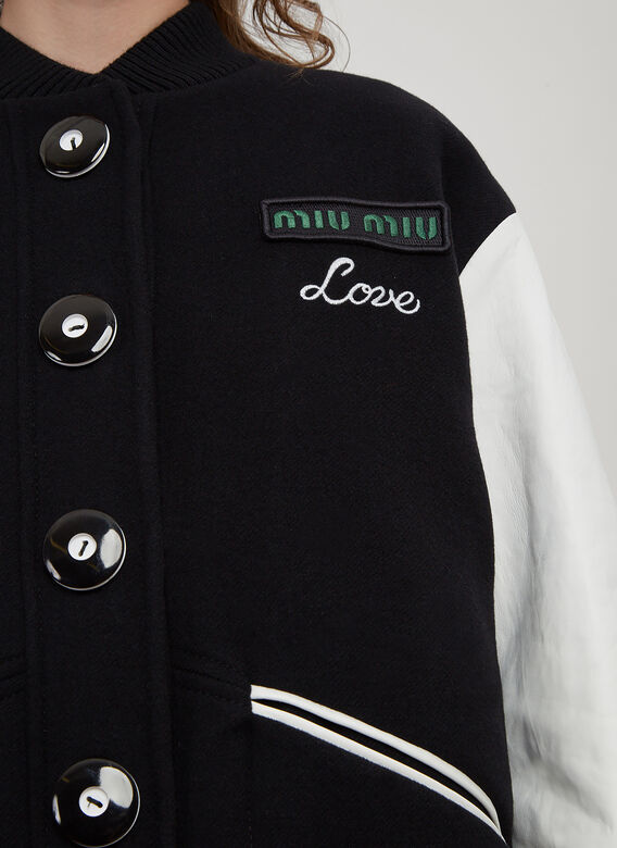Miu Miu Love Logo Patch Bi-Material Teddy Jacket