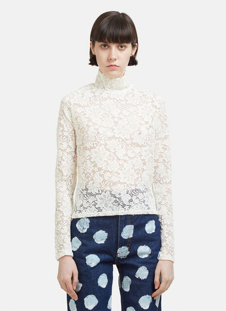 Eckhaus Latta Floral Lace Roll Neck Text Back Top