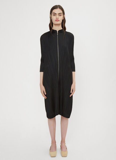 Pleats Please Issey Miyake Long Front Zip Jacket