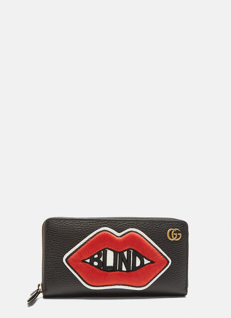 Gucci Mouth Patch Continental Leather Wallet