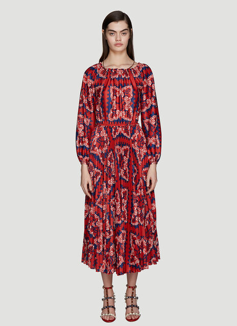 Valentino Bandana Pleated Dress