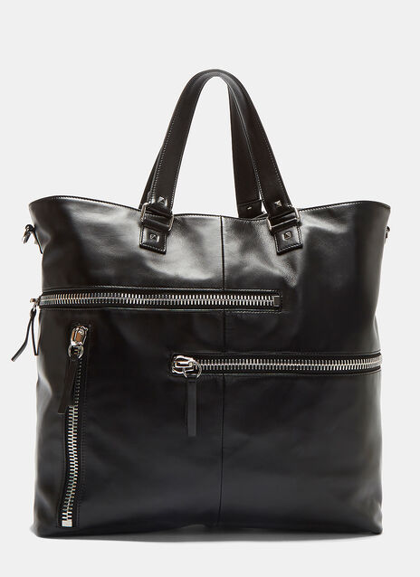 Zipped Pocket Leather Tote Bag