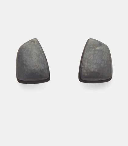 24919 Ebony and Oxidised Copper Clip-On Earrings