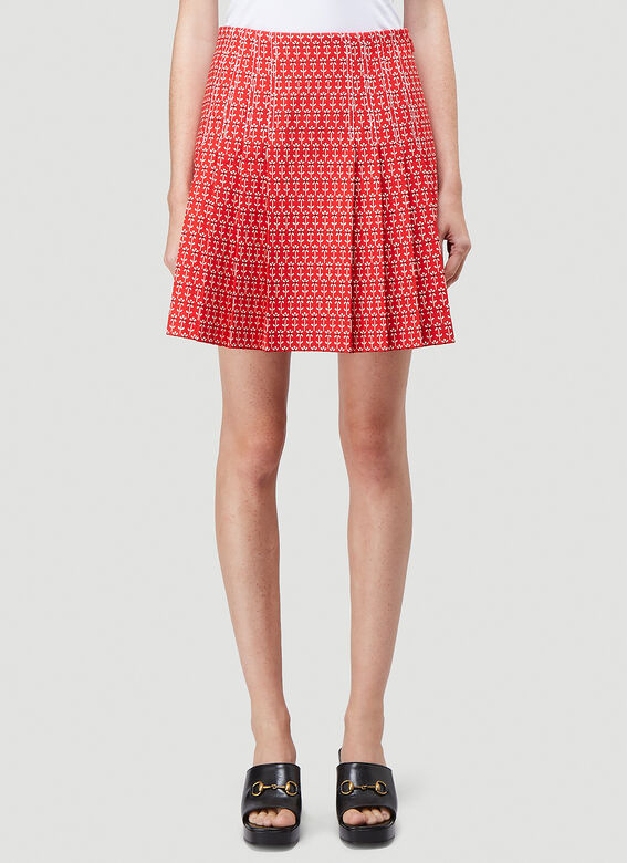 Gucci Cottons Daisy Jacquard Pleated Skirt in Red