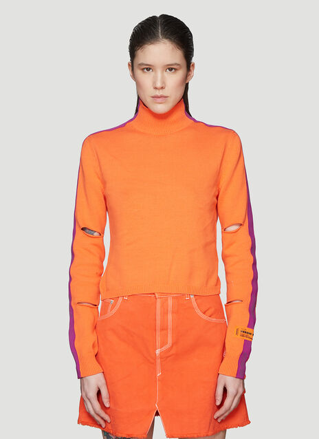 Heron Preston Mock Neck Cut-Out Cropped Knit Sweater