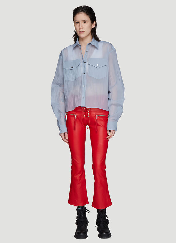 Unravel Project Pants Lace-up Flared Leather Pants