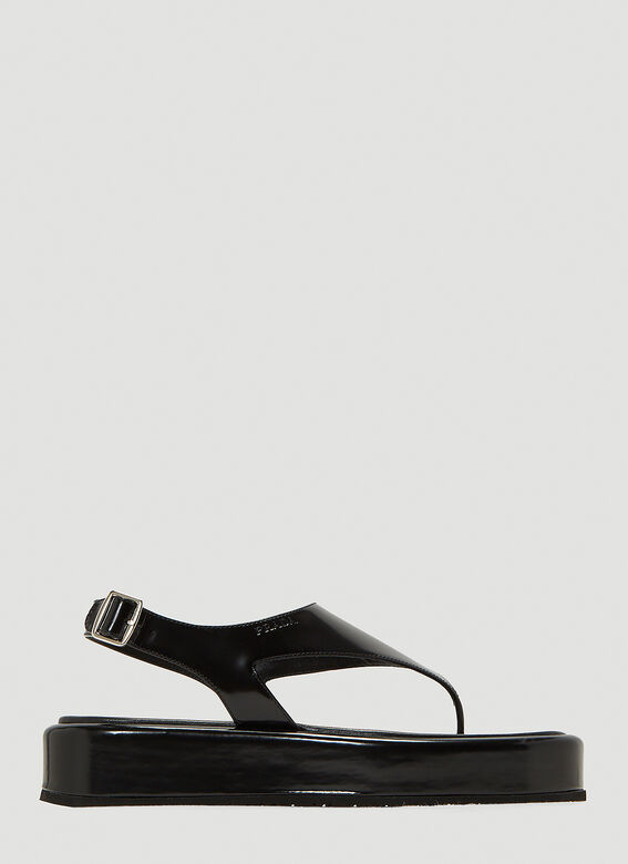 Prada Leather Thong Sandals in Black